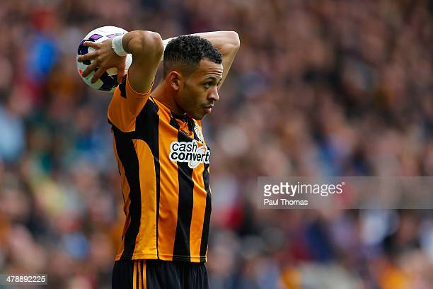 Liam Rosenior of Hull City in action during the Barclays Premier League match between Hull City and Manchester City at the KC Stadium on March 15...