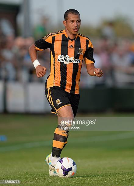 Liam Rosenior of Hull City plays the ball during a preseason friendly between North Ferriby and Hull City at the Eon Visual Media Stadium on July 15...