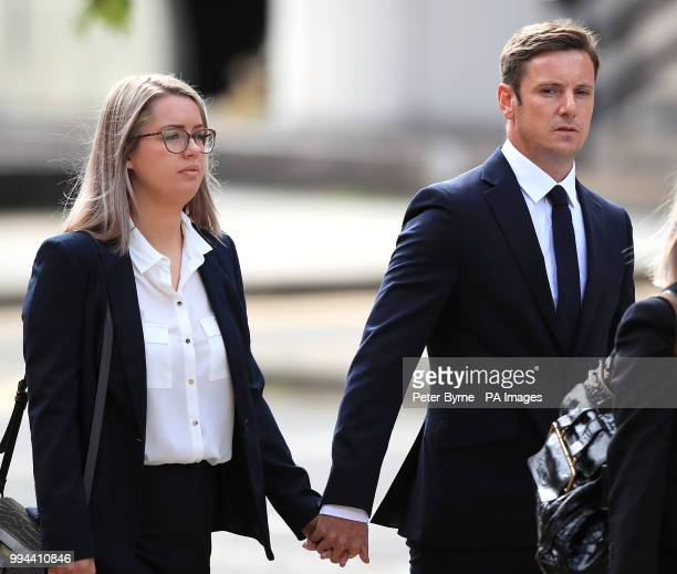 Liam Rosney 32 and Victoria Rosney arrive at Mold Crown Court in Mold where they are charged in connection with death of Olympic cyclist Chris...