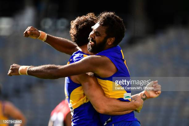 Liam Ryan and Brendon Ah Chee of the Eagles celebrates a goal during the 2020 AFL Round 01 match between the West Coast Eagles and the Melbourne...