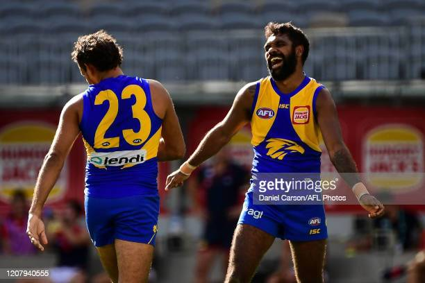 Liam Ryan and Lewis Jetta of the Eagles celebrates a goal during the 2020 AFL Round 01 match between the West Coast Eagles and the Melbourne Demons...