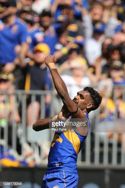 Liam Ryan of the Eagles celebrates a goal during the AFL Preliminary Final match between the West Coast Eagles and the Melbourne Demons on September...