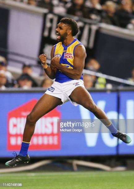 Liam Ryan of the Eagles celebrates a goal during the round three AFL match between the Collingwood Magpies and the West Coast Eagles at Melbourne...