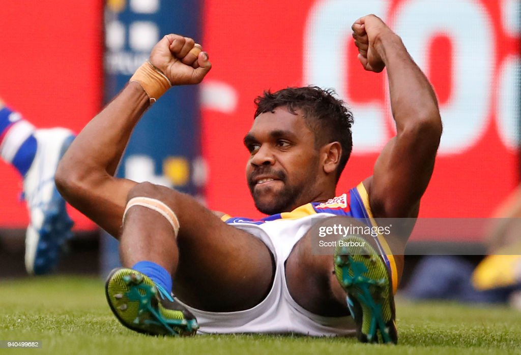 Liam Ryan of the Eagles celebrates after kicking a goal during the round two AFL match between the Western Bulldogs and the West Coast Eagles at Etihad Stadium on April 1, 2018 in Melbourne, Australia.