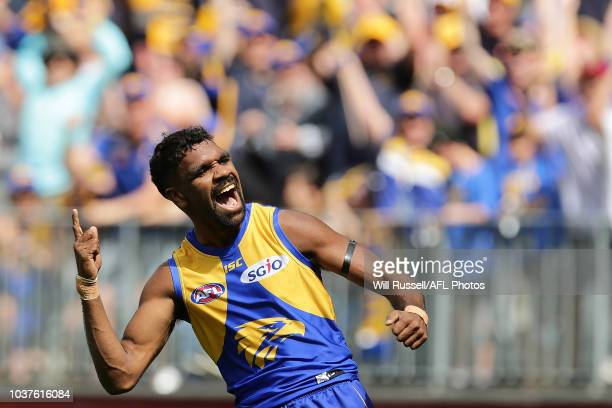 Liam Ryan of the Eagles celebrates after scoring a goal during the AFL Prelimary Final match between the West Coast Eagles and the Melbourne Demons...