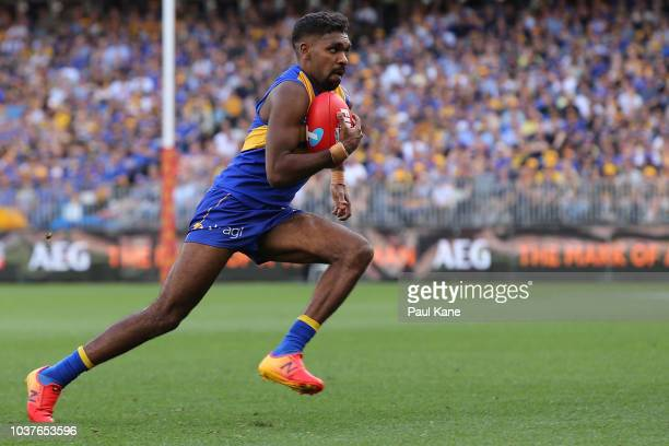 Liam Ryan of the Eagles runs with the ball during the AFL Preliminary Final match between the West Coast Eagles and the Melbourne Demons on September...