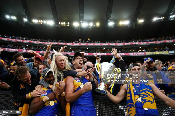 Liam Ryan of the Eagles, Scott Lycett of the Eagles and Elliot Yeo of the Eagles during the 2018 Toyota AFL Grand Final match between the West Coast...