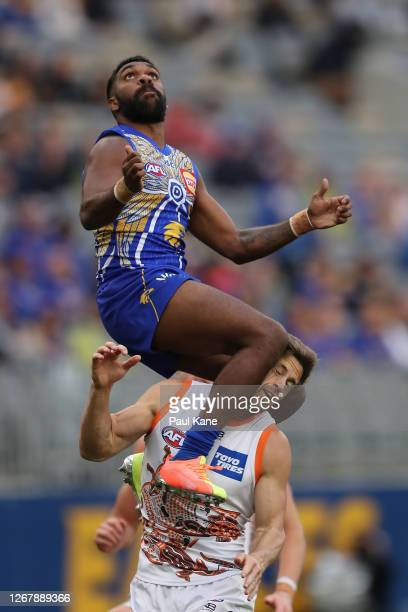 Liam Ryan of the Eagles sets for a mark during the round 13 AFL match between the West Coast Eagles and the Greater Western Sydney Giants at Optus...