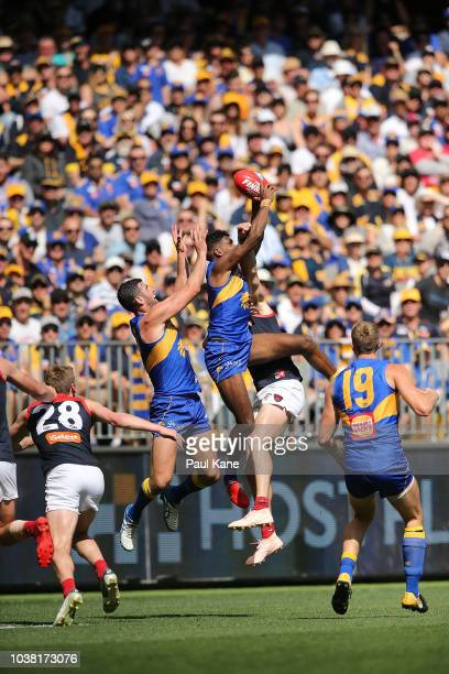 Liam Ryan of the Eaglesmarks the ball during the AFL Preliminary Final match between the West Coast Eagles and the Melbourne Demons on September 22...
