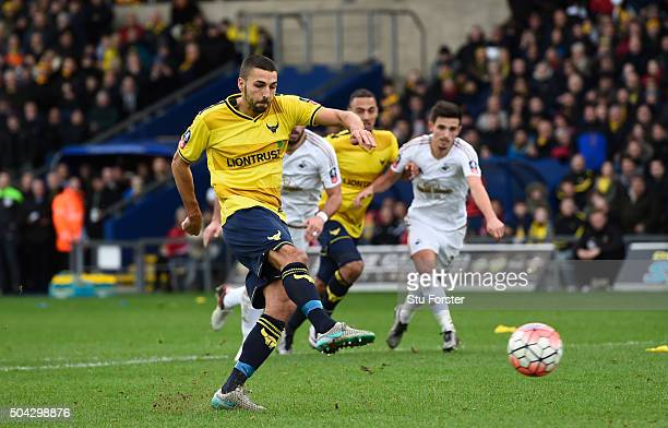 Liam Sercombe of Oxford United scores from the penalty spot to level the scores at 1-1 during The Emirates FA Cup third round match between Oxford...