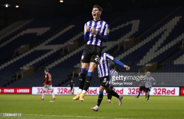 Liam Shaw of Sheffield Wednesday celebrates after scoring his team's second goal during the Sky Bet Championship match between Sheffield Wednesday...