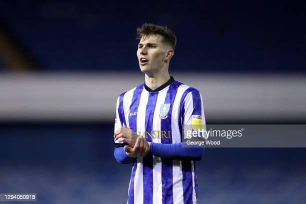 Liam Shaw of Sheffield Wednesday reacts during the Sky Bet Championship match between Sheffield Wednesday and Derby County at Hillsborough Stadium on...