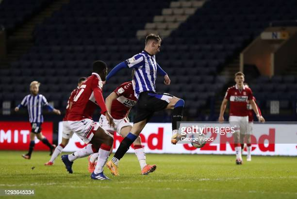 Liam Shaw of Sheffield Wednesday scores his team's second goal during the Sky Bet Championship match between Sheffield Wednesday and Middlesbrough at...