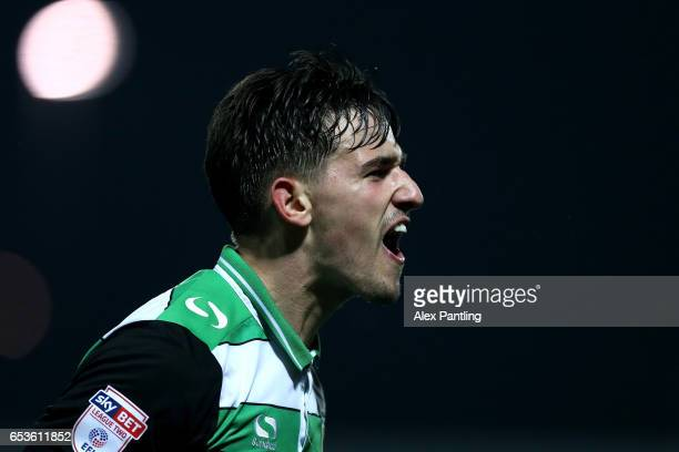 Liam Shephard of Yeovil Town celebrates after he scores his sides second goal during the Sky Bet League 2 match between Barnet and Yeovil Town on...