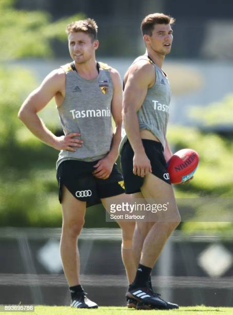 Liam Shiels and Jaeger O'Meara of the Hawks look on during a Hawthorn Hawks AFL training session at Waverley Park on December 16 2017 in Melbourne...
