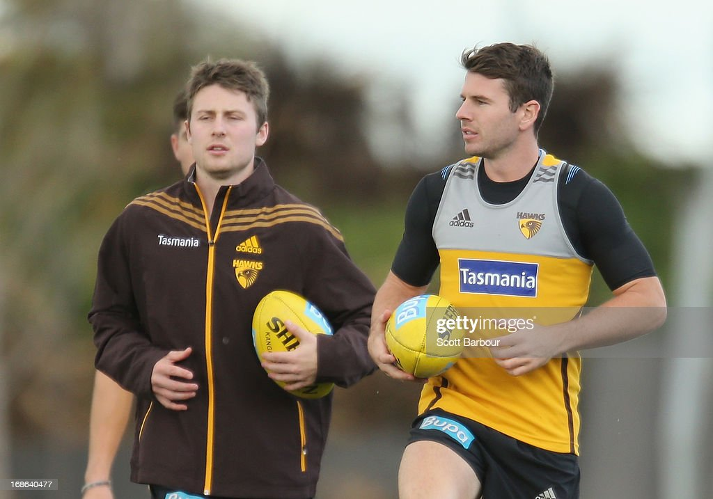Liam Shiels and Jonathan Simpkin of the Hawks look on during a Hawthorn Hawks AFL training session at Waverley Park on May 13, 2013 in Melbourne, Australia.