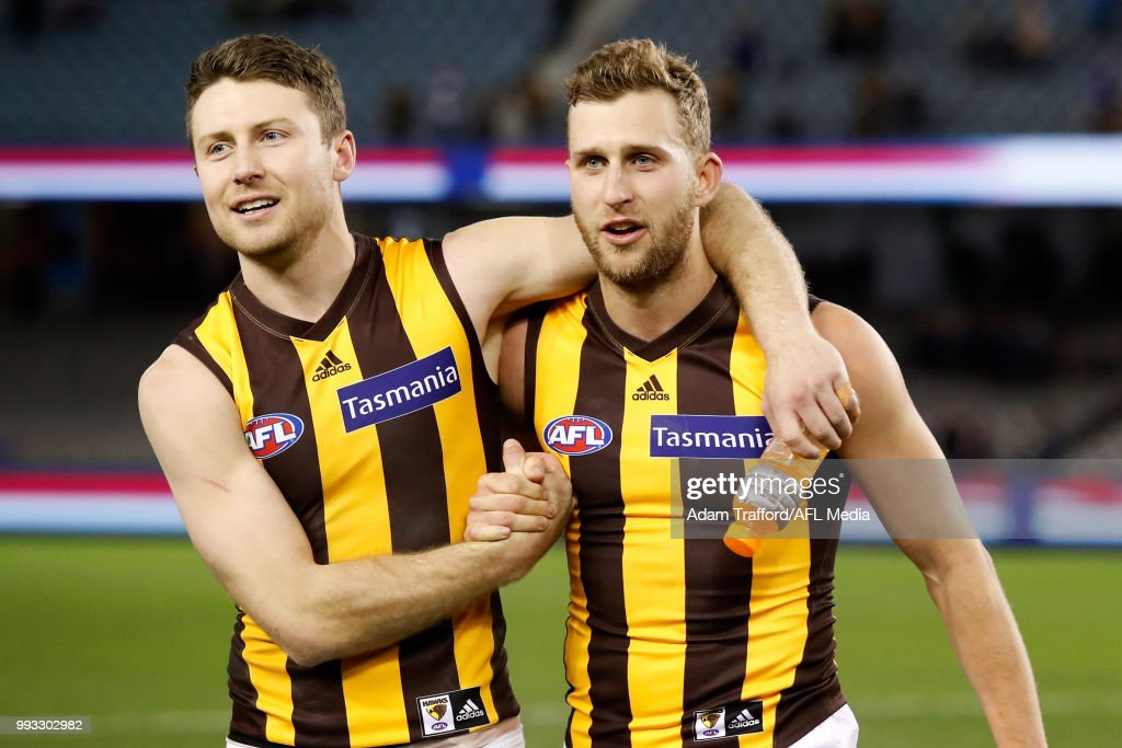 Liam Shiels of the Hawks (left) celebrates with Jonathan O'Rourke of the Hawks during the 2018 AFL round 16 match between the Western Bulldogs and the Hawthorn Hawks at Etihad Stadium on July 07, 2018 in Melbourne, Australia.