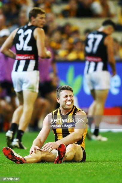 Liam Shiels of the Hawks grabs his knee on the final siren during the round one AFL match between the Hawthorn Hawks and the Collingwood Magpies at...