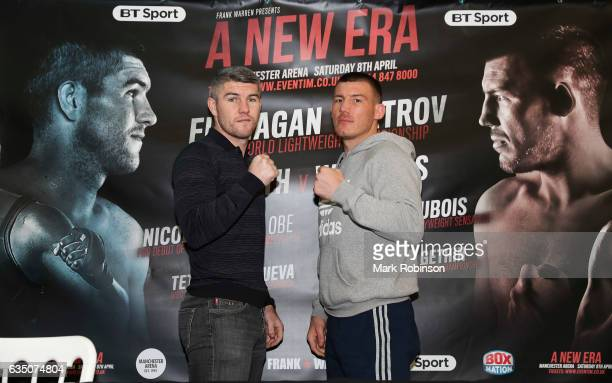 Liam Smith and Liam Williams at a press conference at the Liver Buildings to announce their fight in April on February 13 2017 in Liverpool England