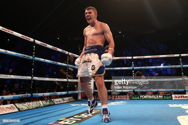Liam Smith celebrates victory over Liam Williams during their WBO Interim World SuperWelterweight fight at Manchester Arena on April 8 2017 in...
