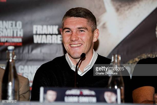 Liam Smith chats to the media during the Canelo Alvarez vs Liam Smith boxing press conference at The Landmark Hotel on July 20 2016 in London England