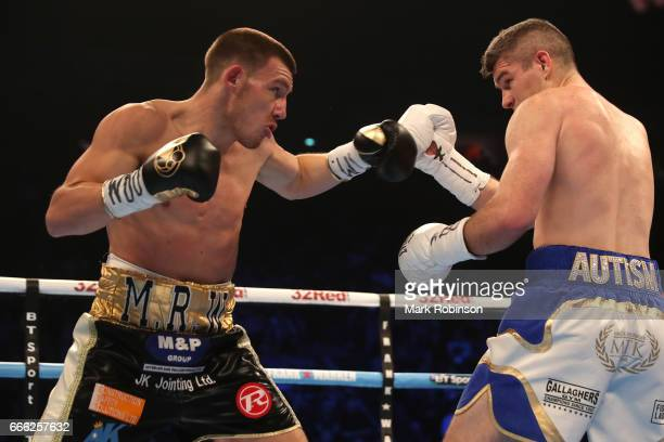 Liam Smith exchanges blows with Liam Williams during their WBO Interim World SuperWelterweight fight at Manchester Arena on April 8 2017 in...