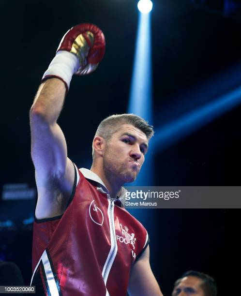 Liam Smith of England is introduced before his title fight against WBO junior middleweight champion Jaime Munguia of Mexico on July 21 2018 in Las...