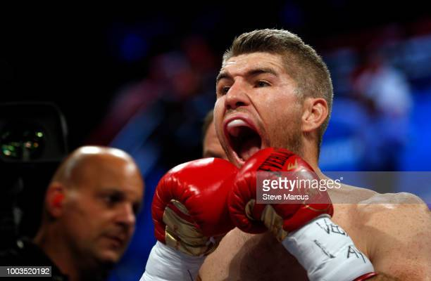 Liam Smith of England prepares for his title fight against WBO junior middleweight champion Jaime Munguia of Mexico on July 21 2018 in Las Vegas...