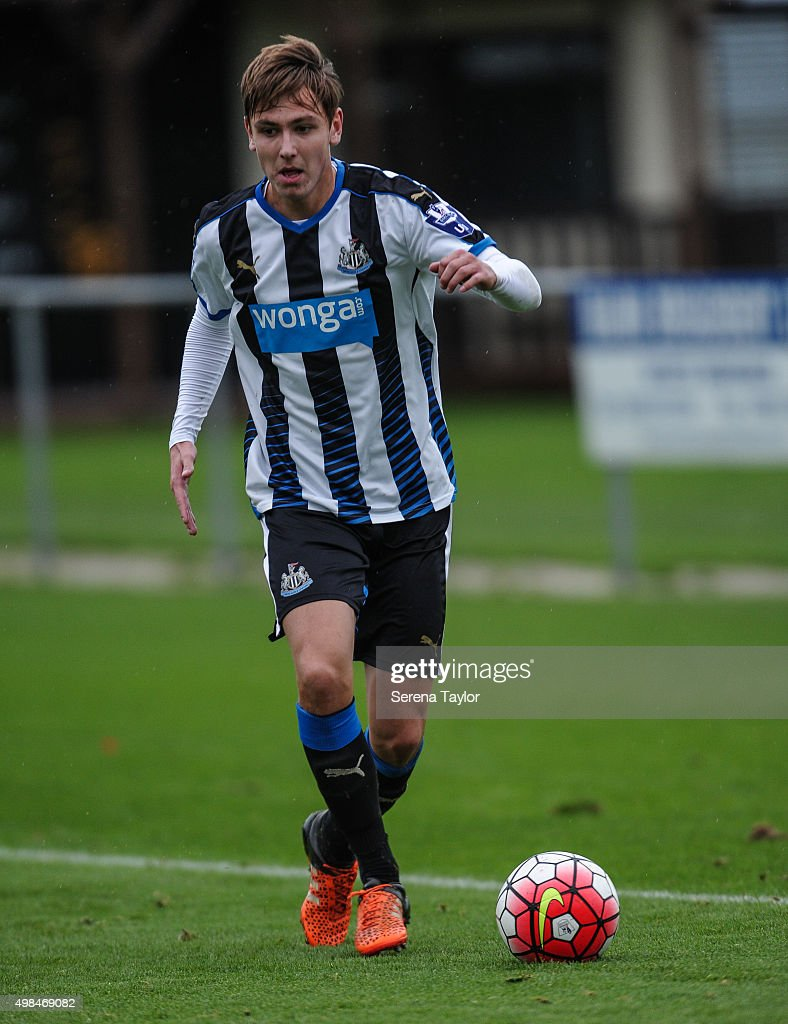 Liam Smith of Newcastle runs with the ball during the U21 Premier League Match between Newcastle United and West Bromwich Albion at Whitley Park on November 23, 2015, in Newcastle upon Tyne, England.