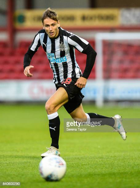 Liam Smith of Newcastle United runs towards the ballduring the Checkatrade Trophy Match between Crewe Alexandra and Newcastle United at Gresty Road...
