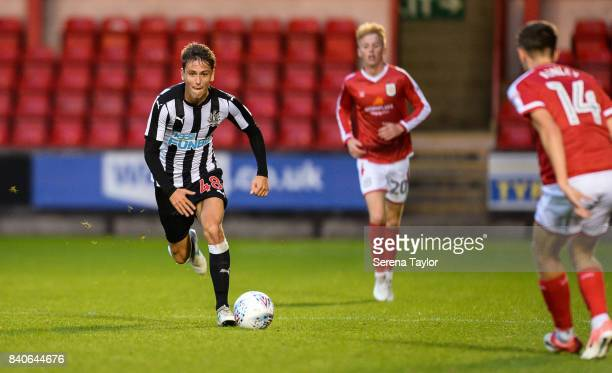 Liam Smith of Newcastle United runs with the ball during the Checkatrade Trophy Match between Crewe Alexandra and Newcastle United at Gresty Road on...