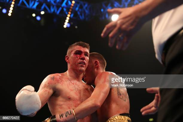 Liam Smith reacts during his WBO Interim World SuperWelterweight fight against Liam Williams at Manchester Arena on April 8 2017 in Manchester England