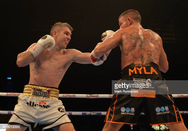 Liam Smith takes on Liam Williams during an Official Eliminator for the WBO World SuperWelterweight Championship presented by Frank Warren at Metro...