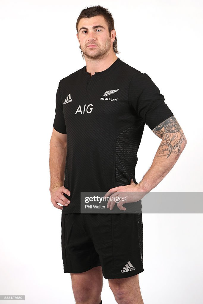 Liam Squire of the All Blacks poses for a portrait during a New Zealand All Black portrait session on May 29, 2016 in Auckland, New Zealand.