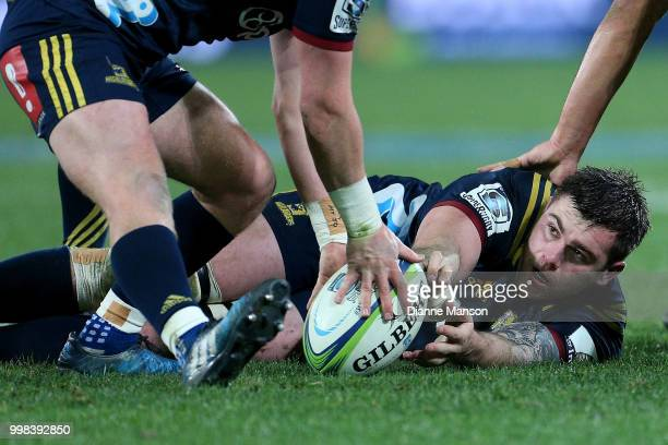 Liam Squire of the Highlanders in action during the round 19 Super Rugby match between the Highlanders and the Rebels at Forsyth Barr Stadium on July...