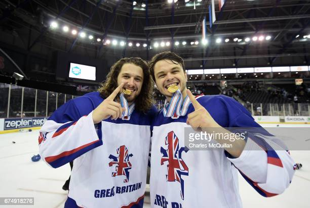 Liam Stewart and Samuel Duggan of Great Britain with their gold medals after winning the Ice Hockey Division 1B World Championship event at SSE Arena...