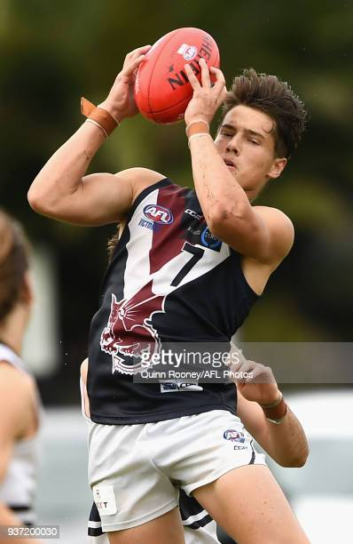 Liam Stocker of the Dragons marks during the round one TAC Cup match between Northern Knights and Sandringham at Frankston Oval on March 24 2018 in...