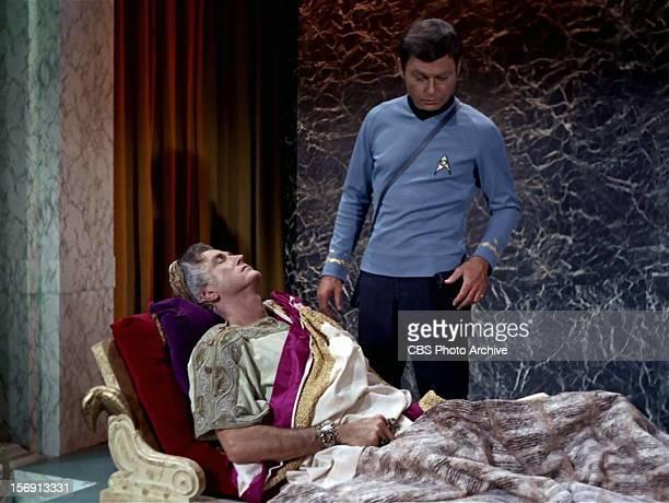 "Liam Sullivan as Parmen and DeForest Kelley as Dr. McCoy in the STAR TREK episode, ""Plato's Stepchildren."" Original air date, November 22, 1968...."