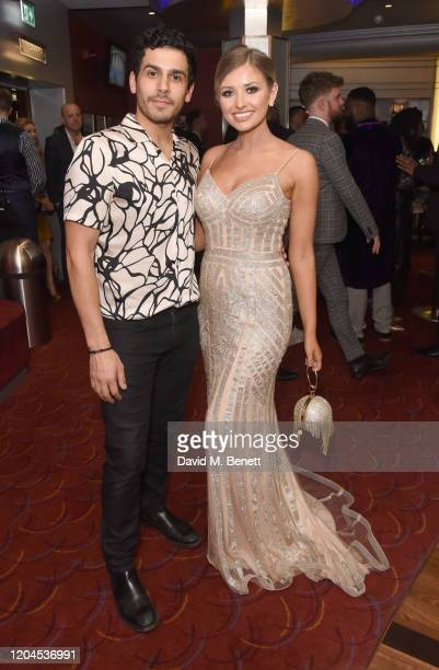 Liam Tamne and Amy Hart attend The WhatsOnStage Awards 2020 at The Prince of Wales Theatre on March 1 2020 in London England