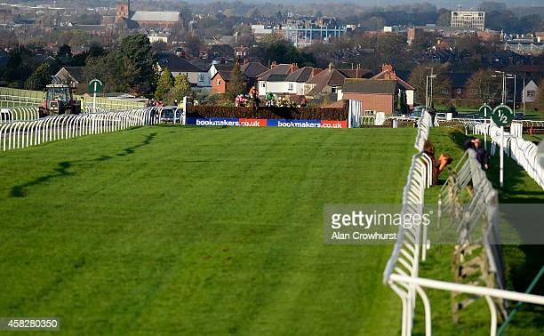 Liam Treadwell riding Ballyoliver clear the last to win The Cumberland Handciap Steeple Chase at Carlisle racecourse on November 02 2014 in Carlisle...