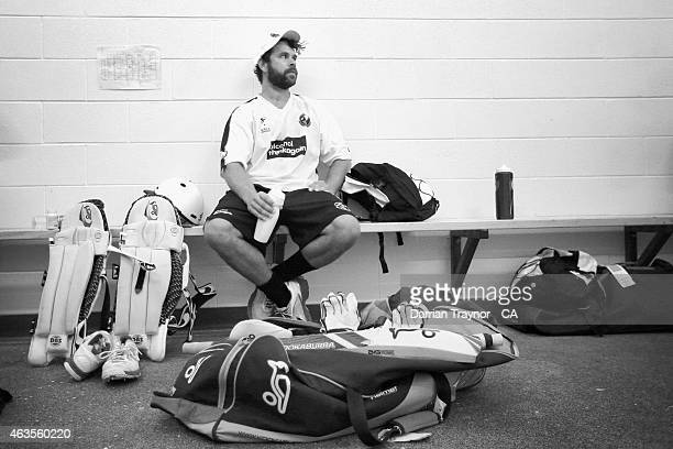 Liam Ugle from Western Australia sits in the change rooms before taking the filed in the Imparja Cup on February 10 2015 in Alice Springs Australia
