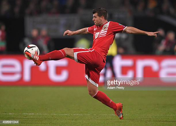 Liam Walker of Gibraltar controls the ball during the EURO 2016 Group D Qualifier match between Germany and Gibraltar at Grundig Stadion on November...