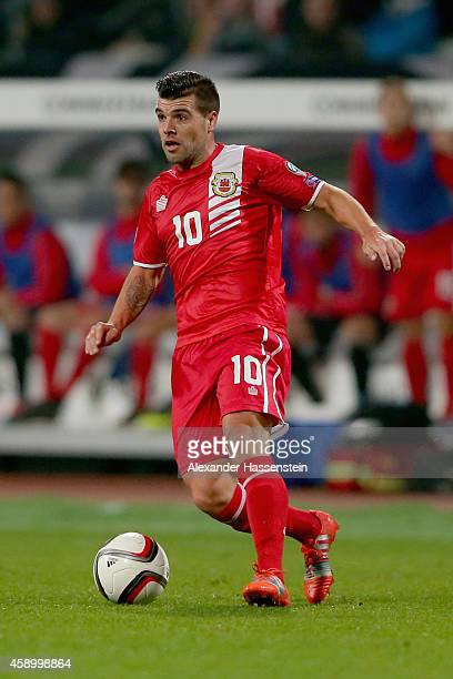 Liam Walker of Gibraltar runs with the ball during the EURO 2016 Group D Qualifier match between Germany and Gibraltar at Grundig Stadion on November...