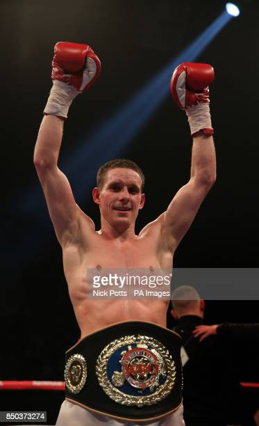 Liam Walsh celebrates defeating Scott Harrison during the WBO European Lightweight Championship fight at Wembley Arena London