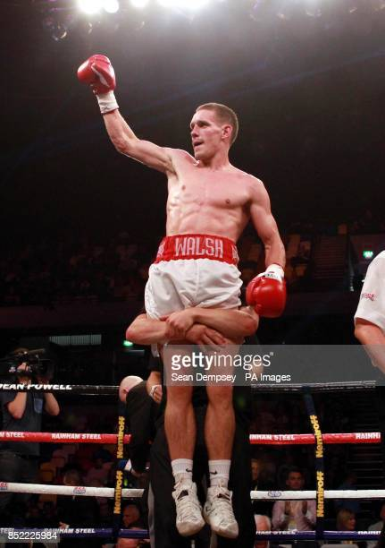Liam Walsh celebrates his victory over Joe Murray during the Commonwealth Vacant IBF International Superfeatherweight Championship bout at the Copper...