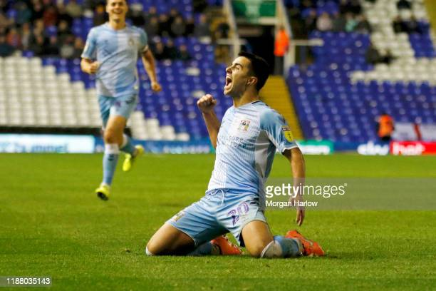 Liam Walsh of Coventry City celebrates after scoring his teams second goal during the Sky Bet League One match between Coventry City and Rochdale at...