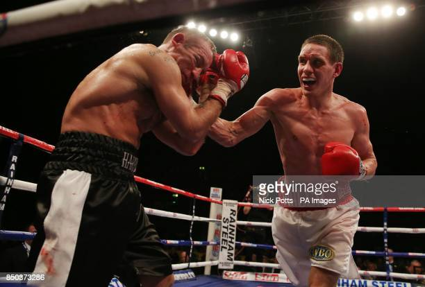 Liam Walsh on his way to victory over Scott Harrison during the WBO European Lightweight Championship fight at Wembley Arena London