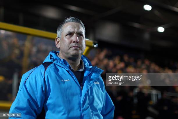 Liam Watson of Southport looks on ahead of the FA Cup Second Round Replay match between Southport and Tranmere Rovers at Haig Avenue on December 17,...