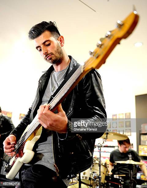 Liam Watts and Andy Hopkins of The Enemy perform and sign copies of their new album 'It's Automatic' at HMV on October 12, 2015 in Manchester,...