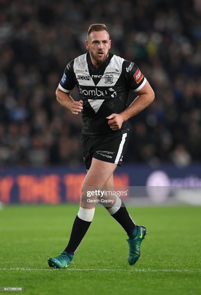 Liam Watts of Hull FC during the Betfred Super League match between Hull FC and Wakefield Trinity on September 14, 2017 in Hull, England.